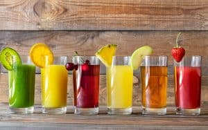 assortment of fruit juices